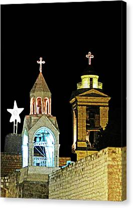 Canvas Print featuring the photograph Nativity Church Lights by Munir Alawi