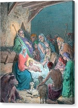 Nativity Scene Canvas Print by Gustave Dore