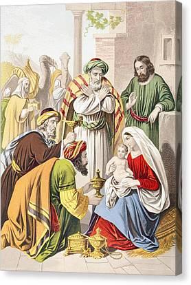Child Jesus Canvas Print - Nativity Scene. The Three Wise Men With by Vintage Design Pics
