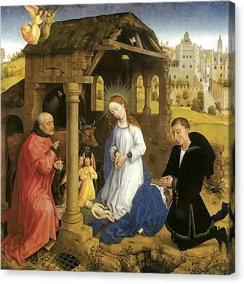 Nativity Weyden Canvas Print by Rogier Van Der Weyden