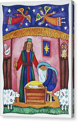 Angels Of Christmas Canvas Print - Nativity With Angels by Cathy Baxter