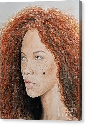 Wavy Canvas Print - Natural Beauty With Red Hair  by Jim Fitzpatrick