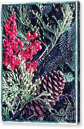Pine Cones Canvas Print - Natural Christmas 3 Card 1 by Sarah Loft