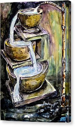 Bamboo House Canvas Print - Natural Fountain And Bamboo Faucet  by Pradeep Gautam