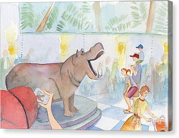 Zoo Canvas Print - Natural History Hippo by Kristy Lankford