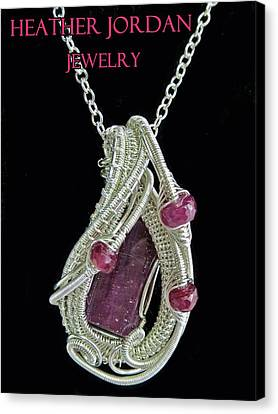 Natural Ruby Gemstone Wire-wrapped Pendant In Sterling Silver With Pink Sapphire Rbpss2 Canvas Print by Heather Jordan