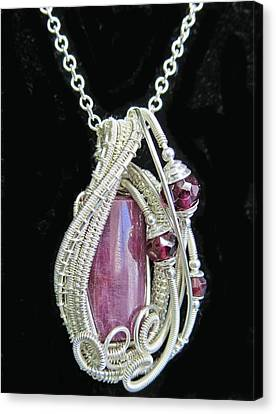 Natural Ruby Gemstone Wire-wrapped Pendant In Sterling Silver With Rhodolite Garnet Rbpss1 Canvas Print by Heather Jordan