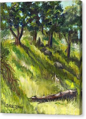 Nature Center Log Canvas Print by Olga Kaczmar