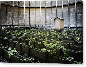 Canvas Print featuring the photograph Nature Takes Back - Inside Cooling Tower by Dirk Ercken