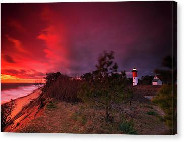 Storm Clouds Cape Cod Canvas Print - Nauset Lighthouse Sunrise by Dapixara Art