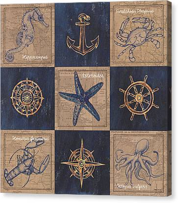 Nautical Burlap Canvas Print by Debbie DeWitt
