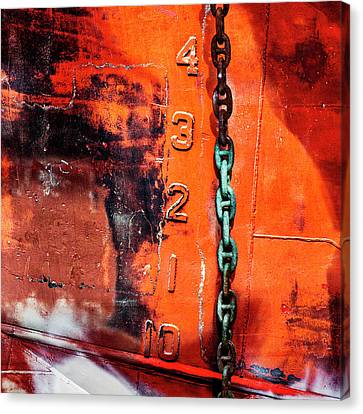 Chained Canvas Print - Nautical Industrial Art Again Square by Carol Leigh