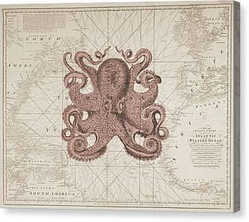 Nautical Octopus Sea Chart Canvas Print by Erin Cadigan