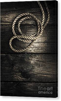 Nautical Rope On Boat Deck. Maritime Knots Canvas Print by Jorgo Photography - Wall Art Gallery