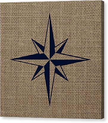 Nautical Star Burlap Canvas Print