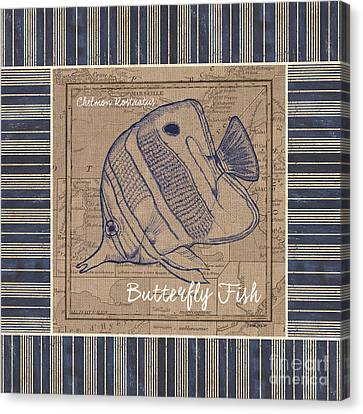 Nautical Stripes Butterfly Fish Canvas Print by Debbie DeWitt