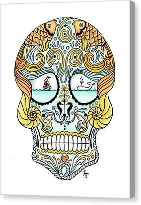 Nautical Sugar Skull Canvas Print