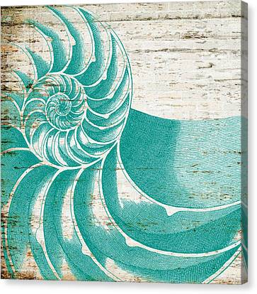 Nautilus Shell Distressed Wood Canvas Print by Brandi Fitzgerald