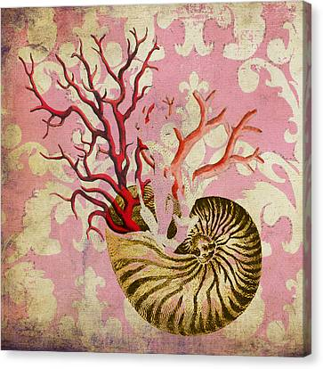 Nautilus With Coral Canvas Print