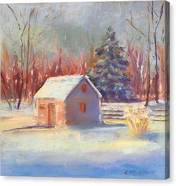 Canvas Print featuring the pastel Nauvoo Winter Scene by Rebecca Matthews