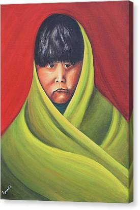 Navajo Child After E.s. Curtis Canvas Print by Art Enrico