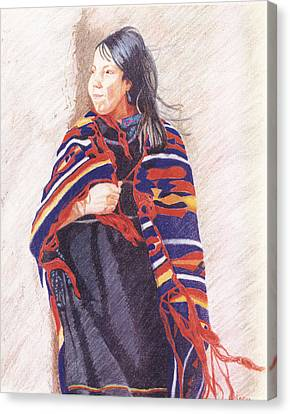 Navajo Girl Canvas Print by Karen Clark