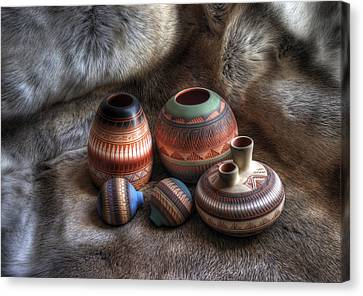 Clay Pottery Canvas Print - Navajo Pottery by Merja Waters
