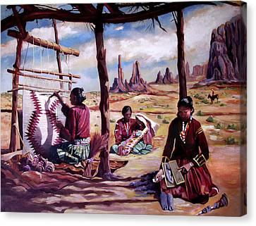 Navajo Weavers Canvas Print by Nancy Griswold