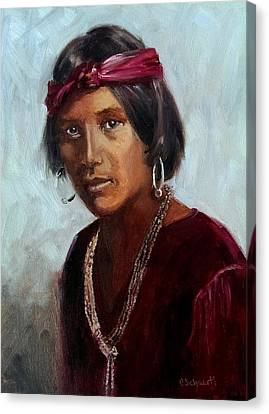 Navajo Youth Canvas Print by Connie Schaertl