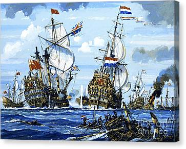 Naval Battle Canvas Print by English School