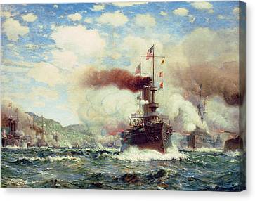 Explosion Canvas Print - Naval Battle Explosion by James Gale Tyler