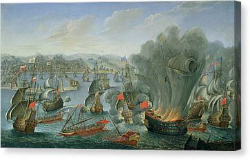 Naval Battle With The Spanish Fleet Canvas Print by Pierre Puget