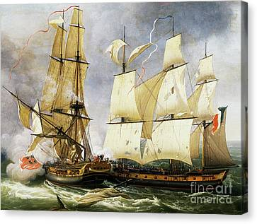 Naval Combat Between French Corvette La Bayonnaise And British Frigate L'embuscade Canvas Print by Jean-Francois Hue
