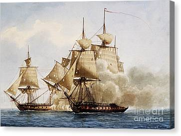 Naval Combat Between French Frigate Amazone And The Santa Margherita Canvas Print by Frederic Roux