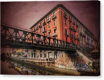City Of Bridges Canvas Print - Naviglio Grande Milan Italy by Carol Japp