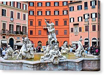 Navona Piazza Fountain Canvas Print by Frozen in Time Fine Art Photography