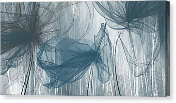 Navy And Gray Abstract - Navy Blue And Gray Modern Art Canvas Print by Lourry Legarde