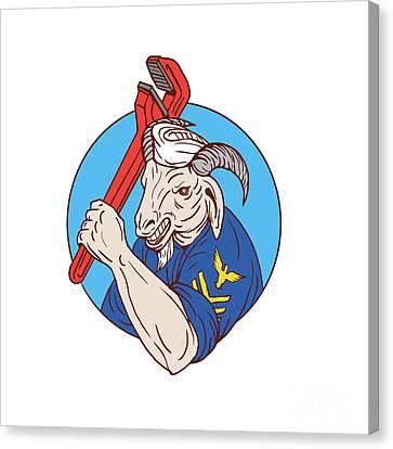 Navy Goat Holding Pipe Wrench Circle Retro Canvas Print by Aloysius Patrimonio
