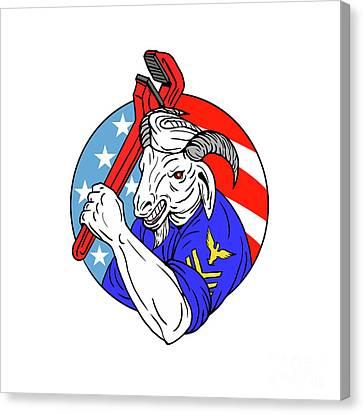Navy Goat Holding Pipe Wrench Usa Flag Circle Retro Canvas Print by Aloysius Patrimonio
