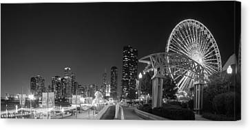 Navy Pier In Black And White Canvas Print by Twenty Two North Photography