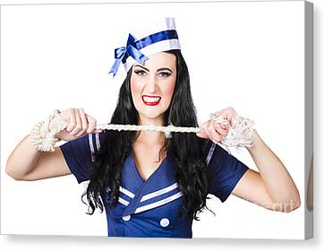 Navy Pin Up Poster Girl Breaking Rope Canvas Print by Jorgo Photography - Wall Art Gallery