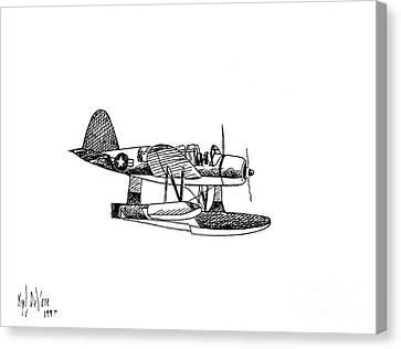 Navy Scout Observation Plane Pen And Ink No  Pi201 Canvas Print by Kip DeVore