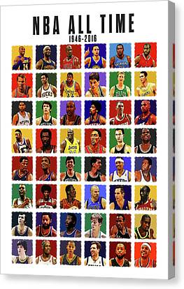 Nba All Times Canvas Print by Semih Yurdabak