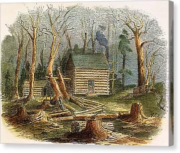 Log Cabins Canvas Print - N.c.: Log Cabin, 1857 by Granger
