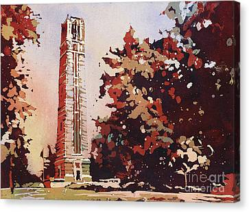 Canvas Print featuring the painting Ncsu Bell-tower II by Ryan Fox