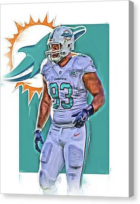 Dolphin Canvas Print - Ndamukong Suh Miami Dolphins Oil Art 2 by Joe Hamilton