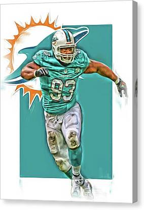 Dolphin Canvas Print - Ndamukong Suh Miami Dolphins Oil Art by Joe Hamilton