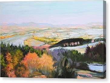 Canvas Print featuring the painting Near Clawddnewydd In North Wales. by Harry Robertson
