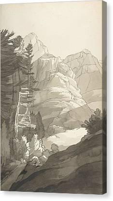 Near Glaris, Switzerland Canvas Print by Francis Towne