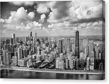 Canvas Print featuring the photograph Near North Side And Gold Coast Black And White by Adam Romanowicz